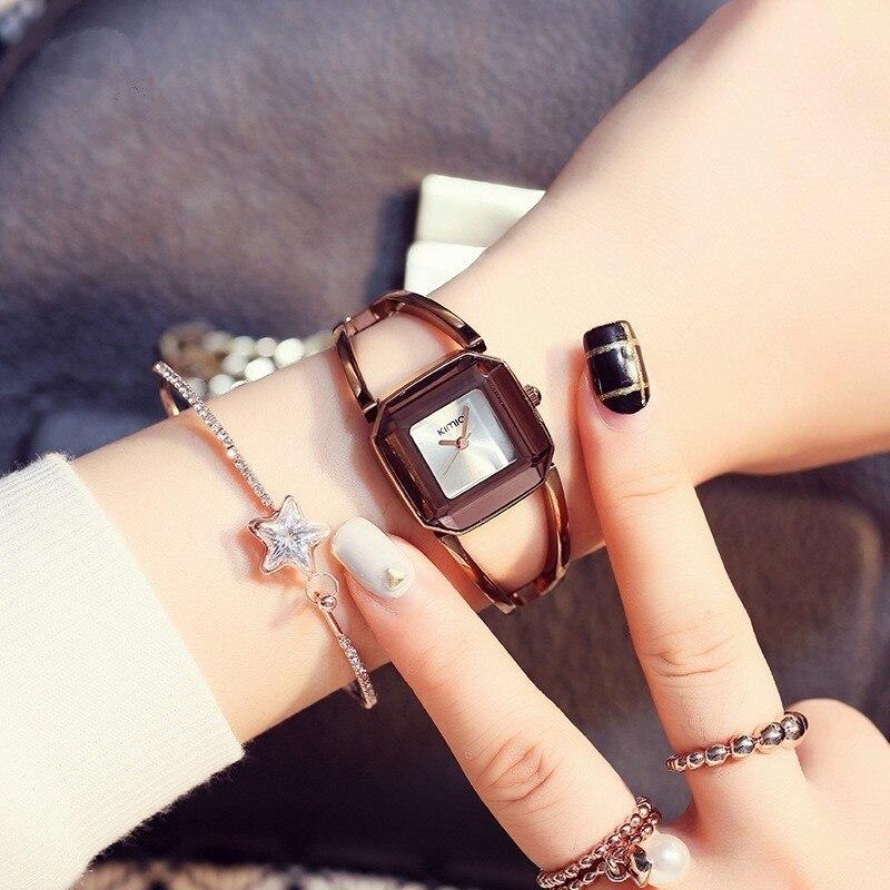 KIMIO Square Fashion Skeleton Bracelet Rose Gold Watches 2019 Luxury Brand Ladies Watch Women Female Quartz-watch Wristwatches