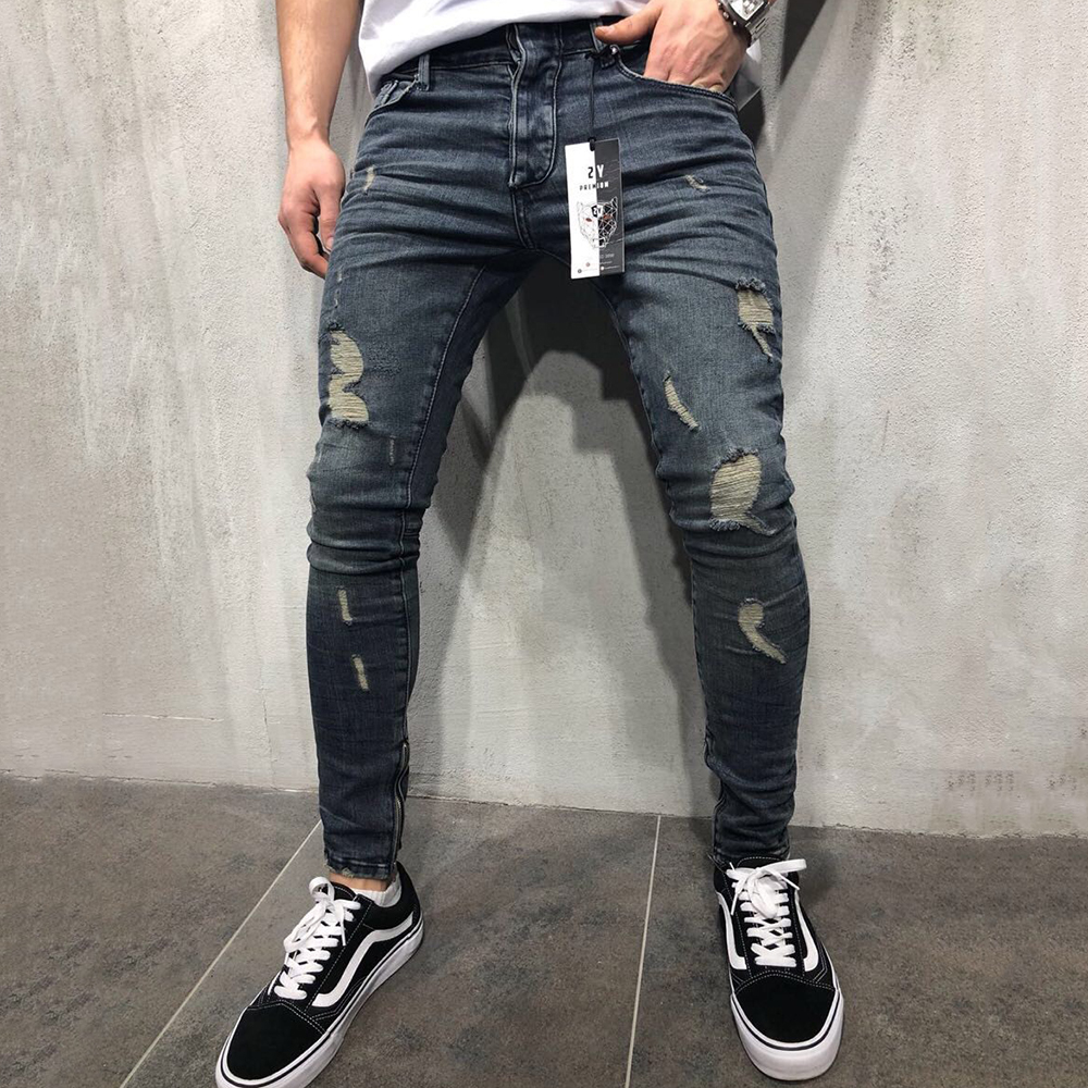 Jeans Men Mid Waist Casual Slim Ankle Length Skinny Jeans Men Streetwear Fashion Hole Ripped Jeans for Men calça masculina D40