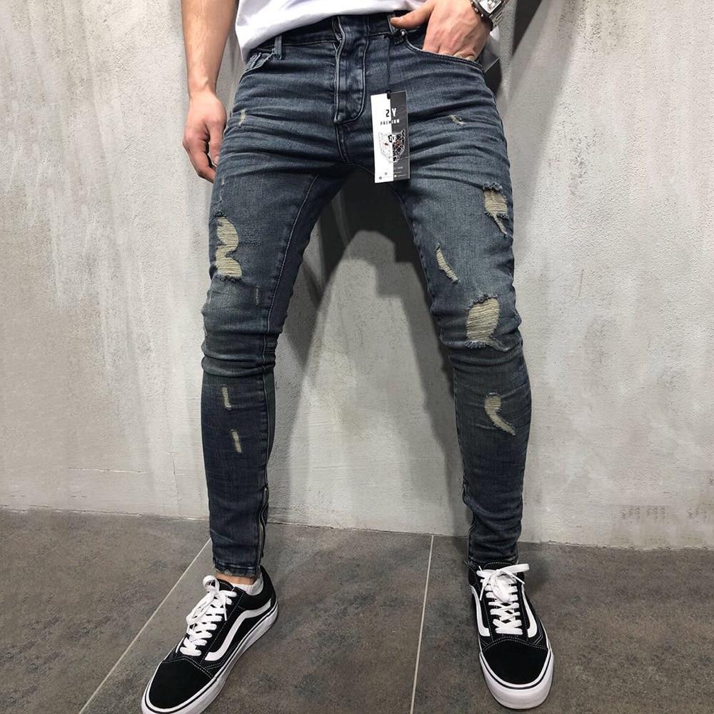 SIKETU Jeans Men Mid Waist Casual Slim Length Skinny Jeans Men Streetwear Fashion Hole Ripped Jeans For Men Calça Masculina D40
