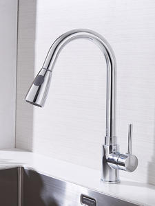 Kitchen-Faucets Tap-Mixer Pull-Out Single-Hole-Handle Silver Swivel 360-Degree Tap-408906