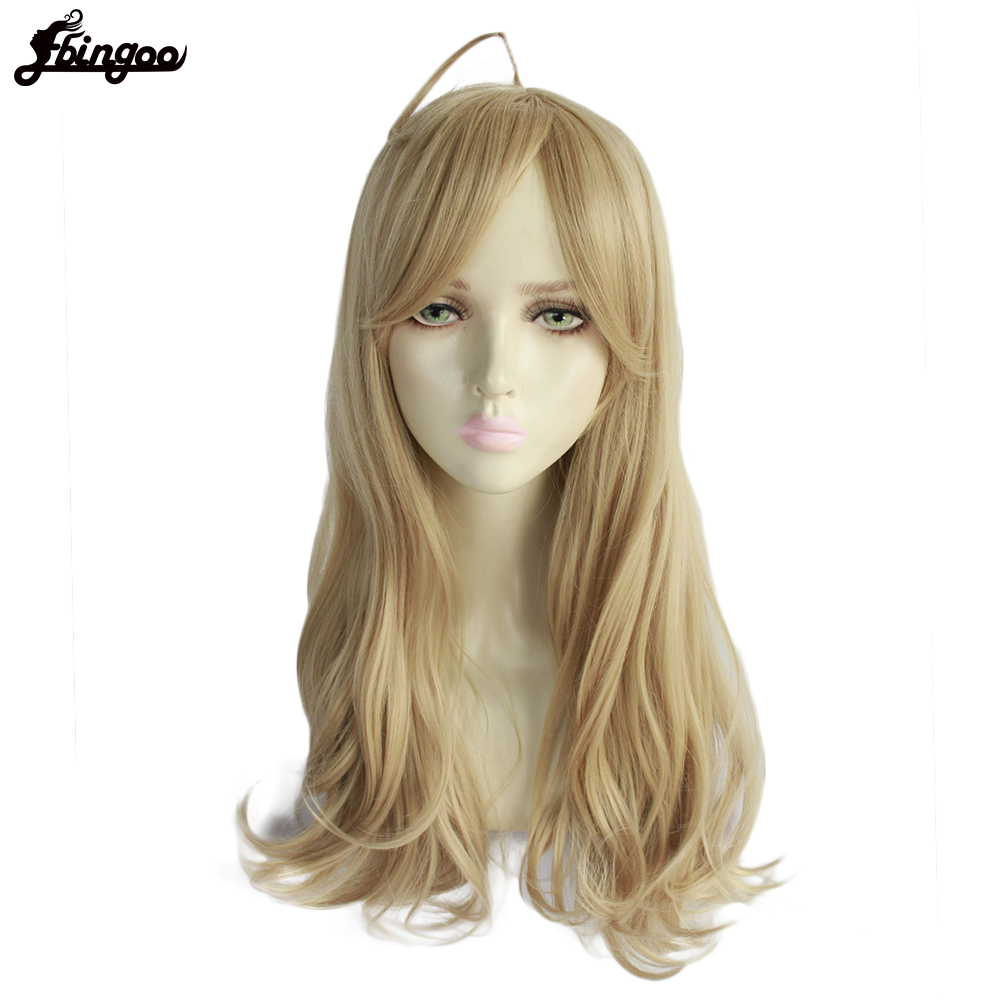 Ebingoo Danganronpa V3 Akamatsu kaede High Temperature Fiber Long Blonde Natural Wave Synthetic Cosplay Wig with Bangs for Women