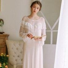 Princess Nightdress Female Long-Sleeved Long Section Soft Bud Silk Yarn Sexy Perspective Modal Home Service Sleepwear GZ42