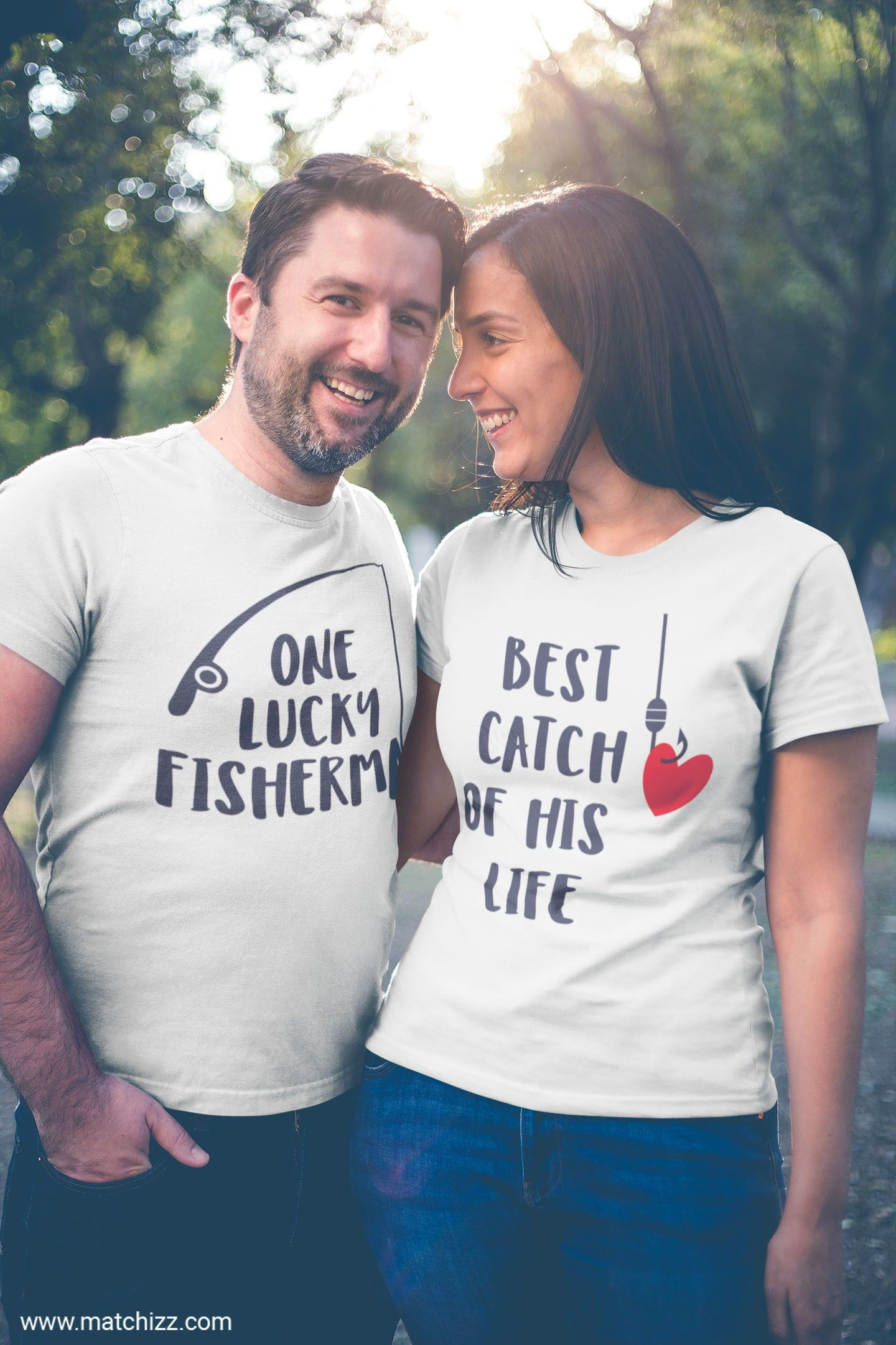 One Lucky Fisherman Best Catch of His Life Funny Fishing Shirts Fishing Couples TShirts Husband Wife T Shirt Valentines Day Gift image