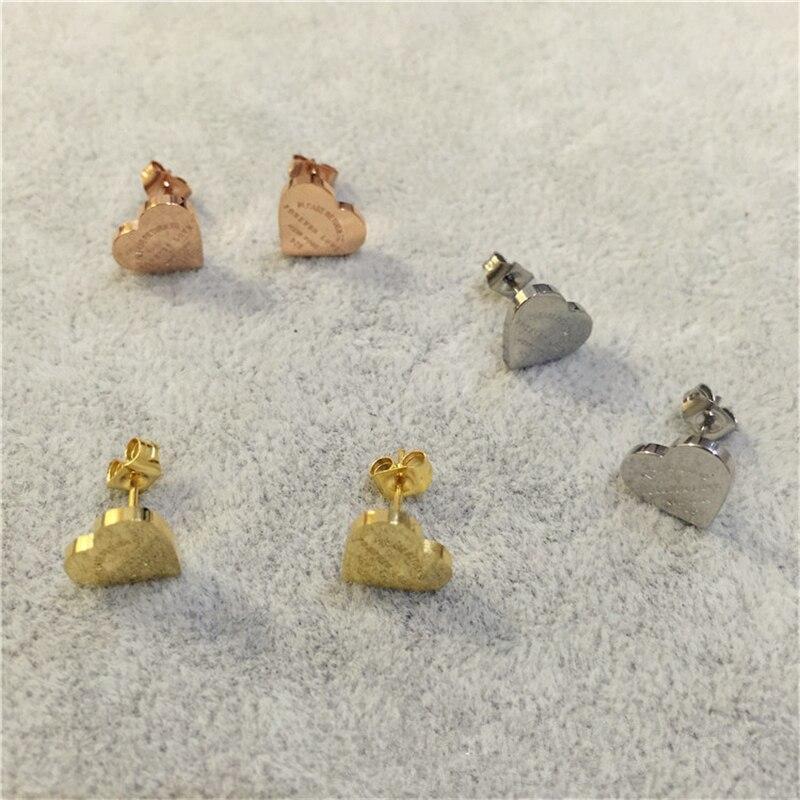 Stainless Steel Jewelry Gold Color Heart Earrings For Women Bijoux Fashion Love Stud Earrings Wiith Logo My Orders Aliexpress