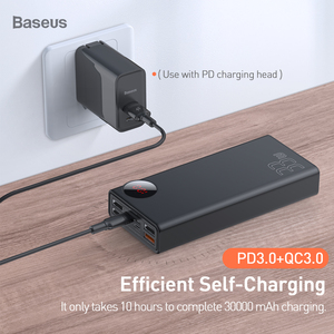 Image 4 - Baseus Quick Charge 3.0 30000mAh Power Bank Type C PD 30000 mAh Powerbank Portable External Battery Charger For iPhone Xiaomi Mi