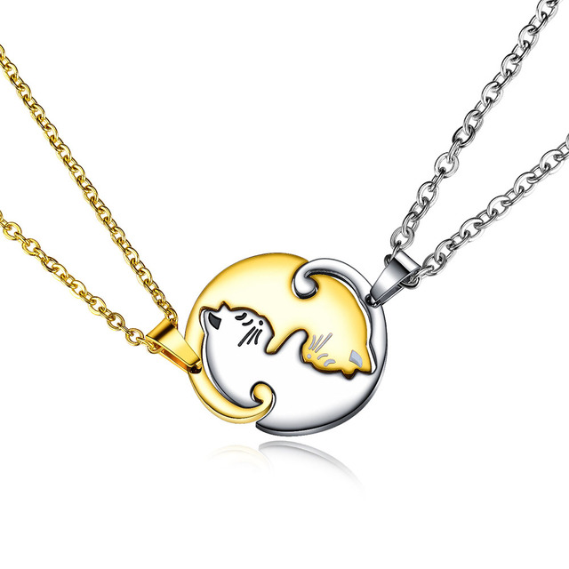 Lokaer Titanium Stainless Steel Stitching A Pair Of Hugging Kitten Pendant Jewelry For Couples Animal Charm Necklaces N17086