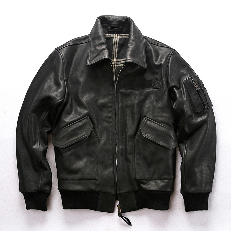 AVIREXFLY 2020 New Men Black Genuine Cow Leather Jacket Fashion Pilot Jackets Plus Size XXXXL 100% Real Cowhide Winter Coats