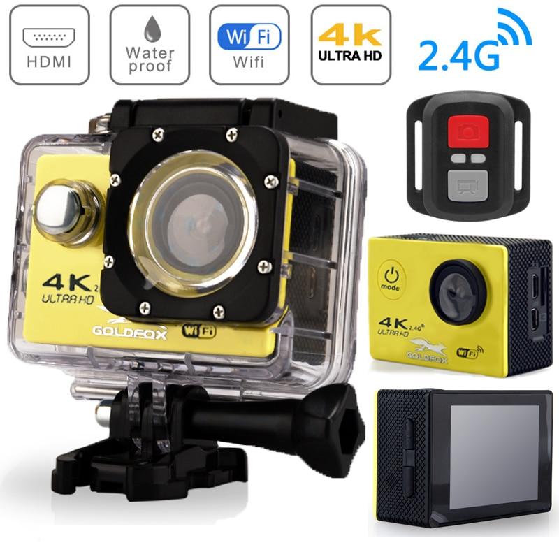 Cámara de Acción Ultra HD 4K WiFi Pantalla de 2,0 pulgadas 170D bajo el agua 30M Go impermeable Pro casco cámaras de grabación de vídeo Cámara deportiva