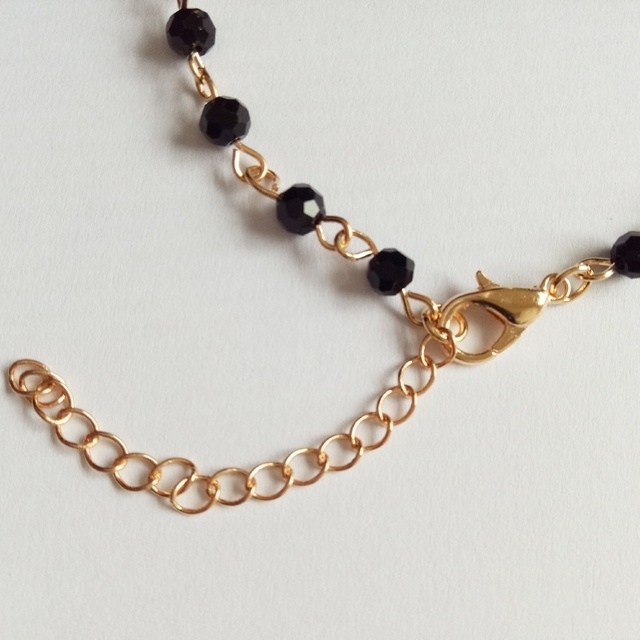 New Fashion różaniec Style bransoletka z krzyżem na boki czarny onyks i koraliki złote lub łańcuszkowe bransoletki dla kobiet