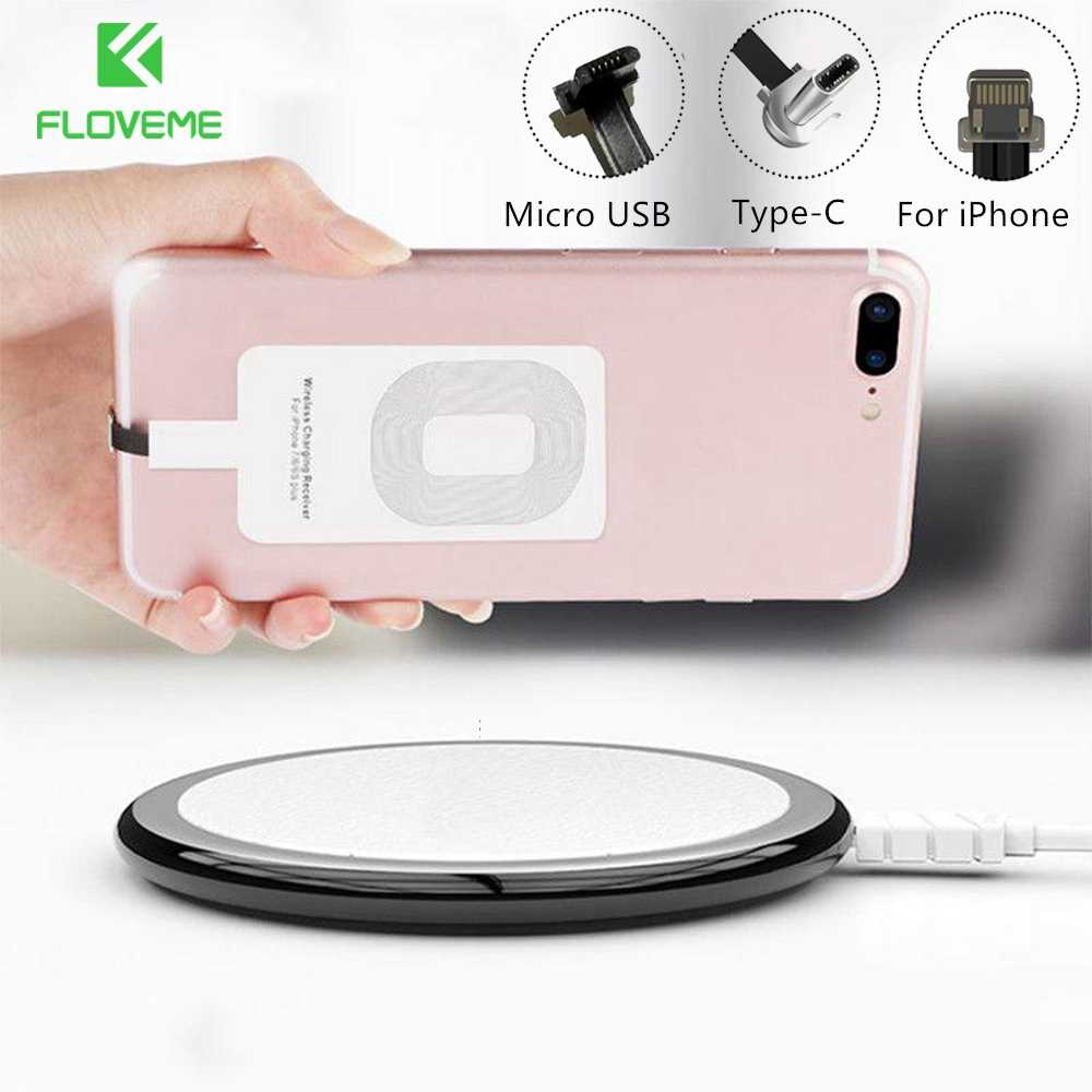 Floveme Qi Wireless Charger Receiver Micro USB Tipe C UNTUK iPhone 5W Wireless Charger Receiver Adaptor untuk Samsung A50 a70 A40