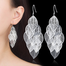 Fashion Multi layer Leaf Drop Long Earrings Jewelry for woman Female Beautiful Gifts