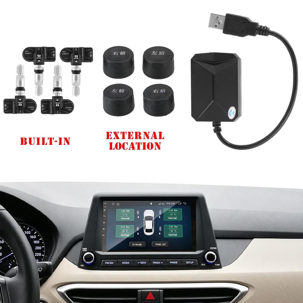 lowest price USB Android TPMS 5V Internal Sensors 4 Sensors Display Alarm System Android Navigation Car Radio Tire Pressure Monitoring System