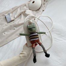 Crossbody-Bags Purses Frog Canvas Pearl Box-Shape Women Lady Cartoon for Shoulder Handbags