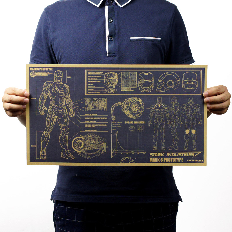 Iron Man Design Drawings Nostalgic Vintage Kraft Paper Classic Movie Poster School Decor Garage Wall Decor Art  Retro Prints