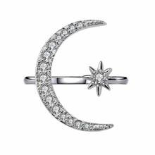 new crescent star moon ring     star moon opening exaggerated   Crystal rhinestone ring moon star rhinestone studded bracelet watch