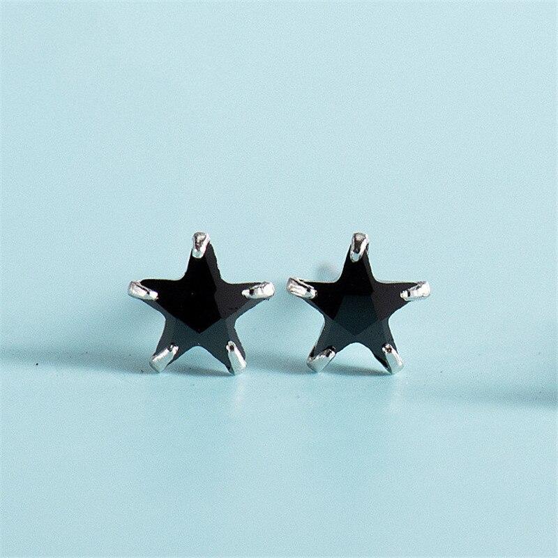 DAIWUJAN Hot Sale 925 Sterling Silver Black White CZ Star Small Stud Earrings For Women Girls Exquisite Earrings Jewelry