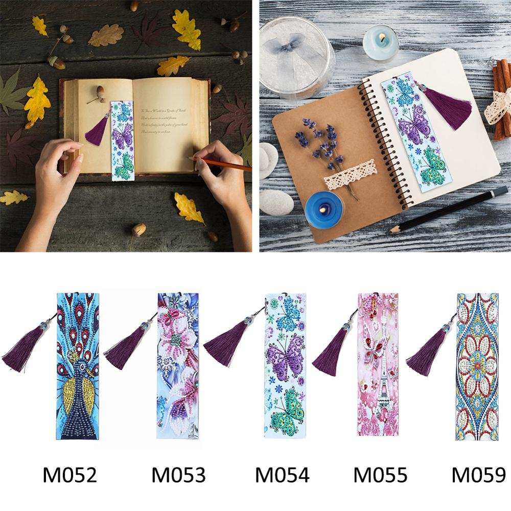 Diamond Painting Bookmark 5D DIY Special Shaped Diamond Art  Leather Tassel Book Marks  Home Decoration Christmas Gift