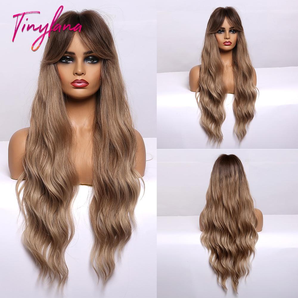 Petite LANA longues perruques synthétiques vague de corps cheveux frêne blond brun avec surbrillance frange naturelle femelle Cosplay résistant à la chaleur perruques