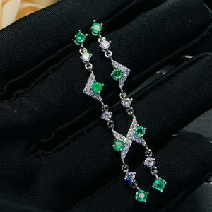 Image 2 - MeiBaPJ הטבעי קולומביה אמרלד ירוק חן ארוך זרוק עגילי אמיתי 925 כסף עגילי תכשיטי קסם עבור נשים