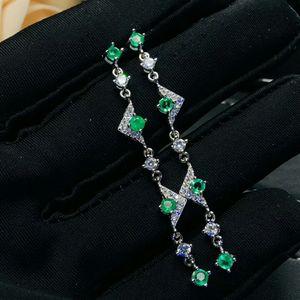 Image 2 - MeiBaPJ doğal kolombiya zümrüt yeşil taş uzun damla küpe gerçek 925 gümüş küpe güzel Charm takı kadınlar için