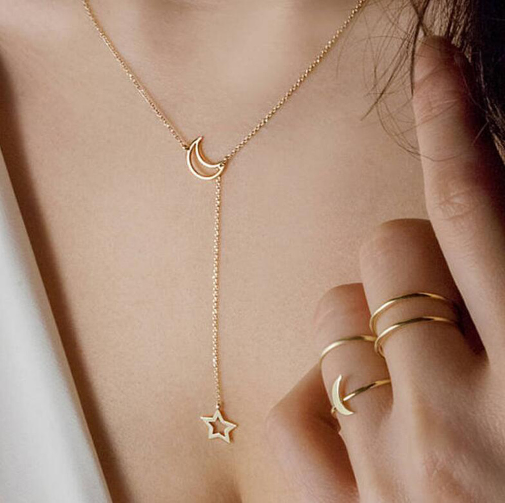 Trendy Women's Moon Star Long Chains Pendant Necklaces Souvenirs Gold Silver Double Pendants Link Chain Choker Jewelry Gifts