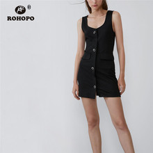 ROHOPO Sleeveless Wide Strap Buttons Fly Side Pockets Straight Black Dress Preppy Female Solid Mini Vestido #6469 black side pockets sleeveless outerwear