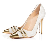 Silver Glitter Ladies Shoes Gold Pointed Toe High Heels Stiletto Evening Wedding Pumps Slip On Sequined Sexy Shinny Pumps Bling