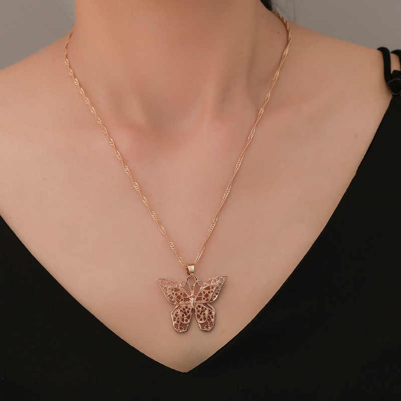 Hot Sale Statement Gold Butterfly Necklace Women Long Chain Necklace Collares De Moda Colar 2019 Boho Jewellery Accesorios Mujer