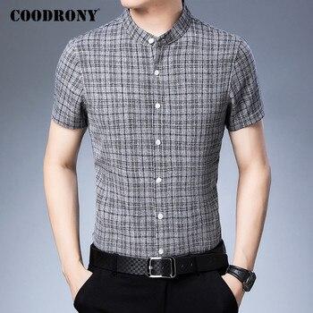 COODRONY Men Shirt Mandarin Collar Camisa Masculina Spring Summer Short Sleeve Business Casual Shirts Mens Cotton Clothes C6019S casual drawstring mandarin collar t shirt