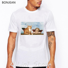 Cat and little angel t shirt men cat aniaml print t-shirt camisetas hombre harajuku shirt aesthetic clothes white tshirt homme sexy lady and sphinx cat print vintage t shirt men summer tops tee shirt homme aesthetic clothes mens tshirt streetwear t shirt