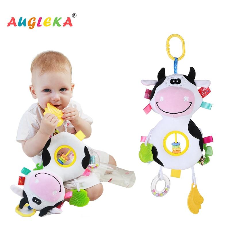 Baby Plush Rattles Bear Mobiles Toys Cow Deer Animal  Infant Stroller Hanging Mobile Rattles Newborn Baby Toys Teether