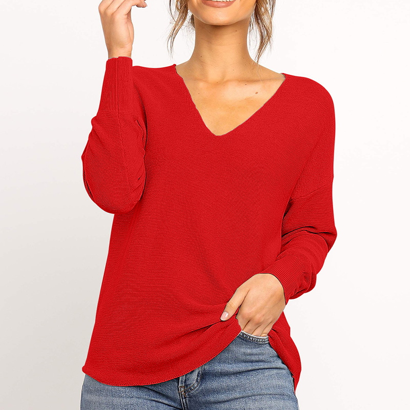 Fitshinling V Neck Basic Sweaters For Women Autumn Winter Long Sleeve Solid Pull Femme Knitted Jumper Boho 2019 Pullovers Sale in Pullovers from Women 39 s Clothing