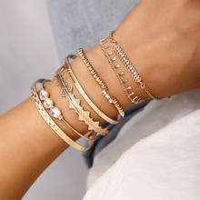 Fashion 7 Pcs/set Etnis Warna Emas Manset Bangle Set Panah Berlian Imitasi Segitiga Pesona Gelang Bangle Wanita Bohemian Perhiasan Hadiah(China)