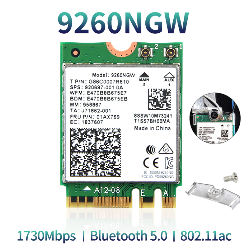 Dual Band Wireless 9260AC WiFi Card 9260NGW NGFF M.2 1.73Gbps 802.11ac Bluetooth 5.0 Wlan Network Adapter