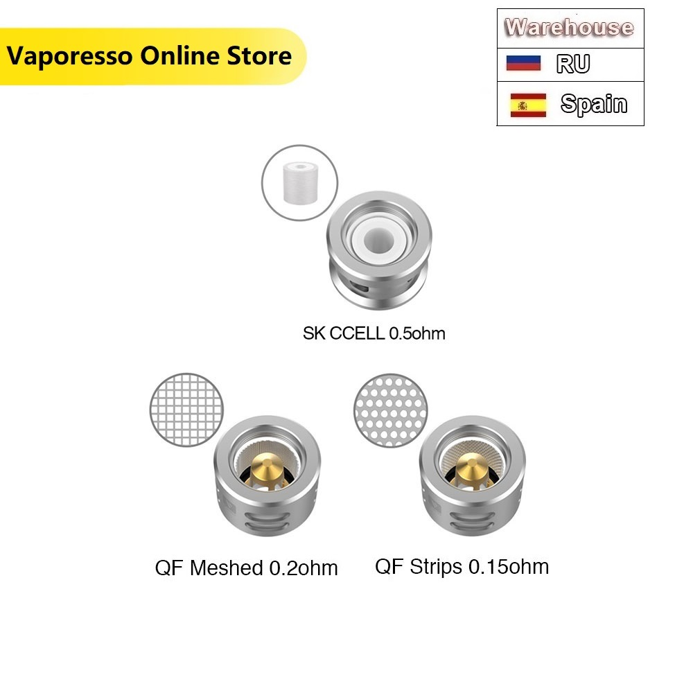 3pcs Vaporesso SKRR Replacement Coil W/ QF Strips 0.15ohm & QF Meshed 0.2ohm E-cig Vape Coil For Luxe TC Kit/ SKRR Tank