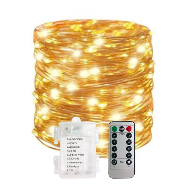 5M 10M Waterproof Remote Control Fairy Lights Battery Operated LED Lights Decoration 8 Mode Timer String Copper Wire Christmas