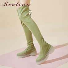 Купить с кэшбэком Meotina Autumn Over The Knee Boots Women Kid Suede Flat Platform Thigh High Boots Rivets Slim Stretch Shoes Ladies Green Size 39