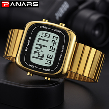 PANARS Stainless Steel Square Watch Men Digital Mens Waterproof Watches For Sport Electronic Wrist Gifts Luminous