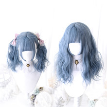 Blue Lolita Wig Harajuku Cosplay Bangs Curly 45cm Long Sweet Synthetic Hair for Adult Girls(China)