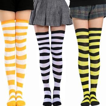 Fashion Striped Thigh High Socks Women Sexy Stocking Knee High Socks Soft Breathable Elastic Skateboard Long Socks Women 1 Pair