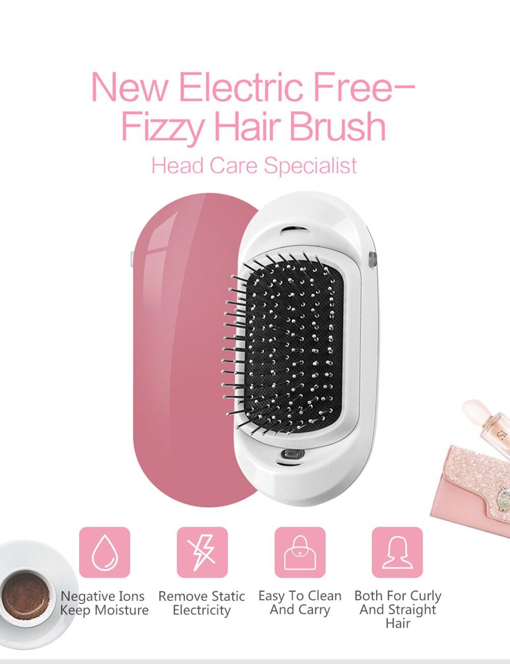 2.0 Fashionic Hair Brush Portable Electric Ionic Hairbrush Vibrating Scalp Massage Comb Double Negative Ions Release Antic-Stati