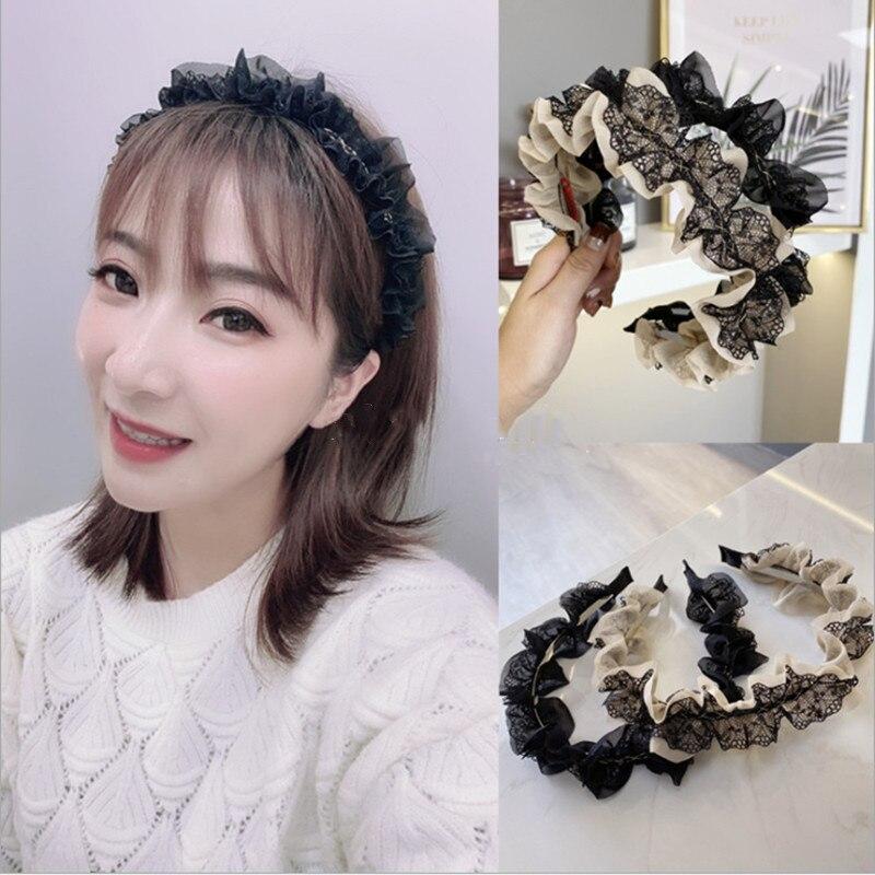 Korean Princess Style Headband Cute Hair Accessories Women Lace Folds Wavy Thin-edged Hairband Headband Girl Hair Band Headwear