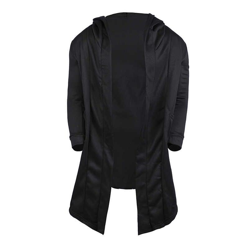 2019 Mannen Geul Nieuwe Hooded Effen Kleur Trenchcoat Lange Mouwen Hoody Uitloper Streetwear Lente Herfst Mannen Lange Jas Vest