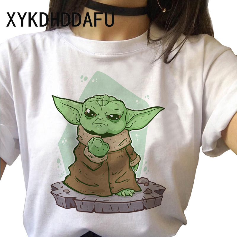Baby Yoda Mandalorian Women T Shirt Star Wars Aesthetic T-shirt Female Moive Harajuku Ulzzang Tshirt Cartoon Funny Top Tees image