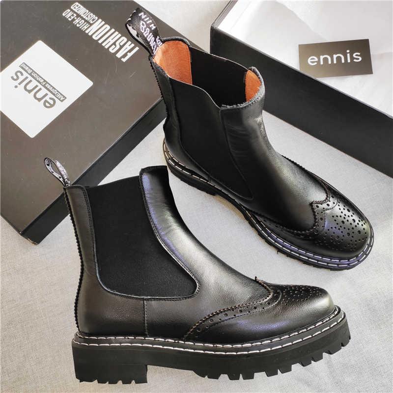 ENNIS marka kışlık botlar kadın hakiki deri çizmeler kadın düz yarım çizmeler platformu sonbahar kayma Brogue ayakkabı kırmızı yeni A9237