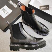 Ennes ماركة الشتاء الأحذية الإناث بوط من الجلد الطبيعي النساء شقة حذاء من الجلد منصة الخريف الانزلاق على البروغ أحذية الأحمر جديد A9237