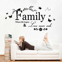 fashion Family Where Life Begins Quote Removable Vinyl Wall Stickers Decal DIY Home Decor Design