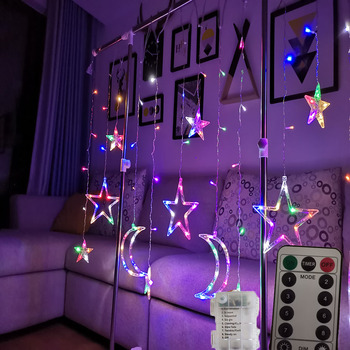LED Star Moon Lamp Fairy Curtain String Lights Christmas Garland Outdoor Wedding Party Window Decor New Year 3 5m 220v led moon star lamp christmas garland string lights fairy curtain light outdoor for holiday wedding party decoration