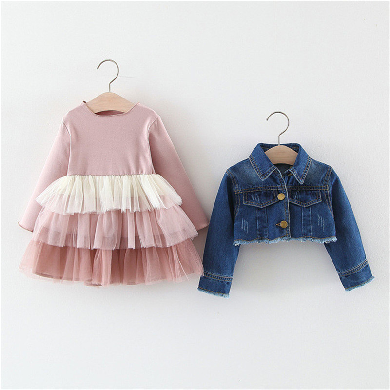 Image 3 - Alice 2019 Girls  dress denim top suit childrens spring and autumn princess cake mesh dress clothing sets kids clothesClothing Sets   -