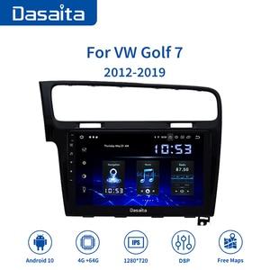 "Image 1 - Dasaita Autoradio 1 Din Car Android 10.0 for VW Golf 7 2013 2014 2015 2016 2017 Navigation GPS 10.2"" IPS Touch Screen HDMI"